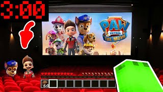 SCHAUE NIEMALS NEUEN PAW PATROL FILM 3 UHR NACHTS IM KINO in Minecraft!