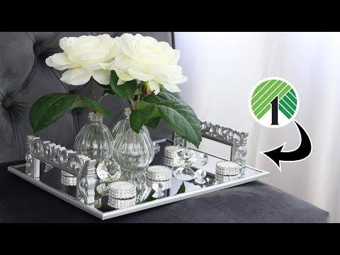 DOLLAR TREE DIY GLAM DECOR TRAY | Mirrored Decor Tray With Handles