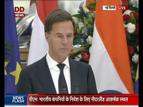 Netherlands PM Mark Rutte speaks at the joint press conference between India & Netherland