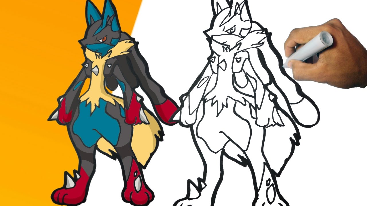 Como Dibujar A Mega Lucario (pokemon) Paso A Paso  How To Draw Mega Lucario  Step By Step