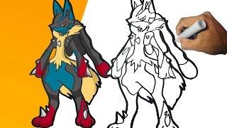 Como dibujar a Mega Lucario (Pokemon) Paso a paso   how to draw Mega Lucario step by step