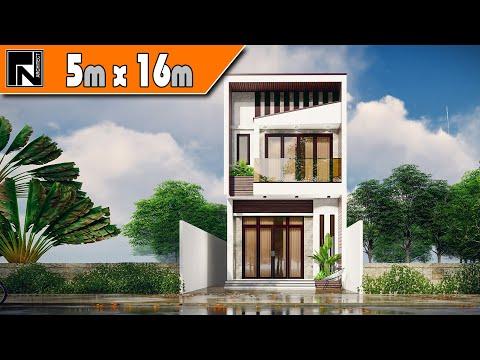 Thiết kế nhà lệch tầng 5x16m 2 tầng 3 phòng ngủ cho anh Thành - Phú Yên | Kiến trúc TN