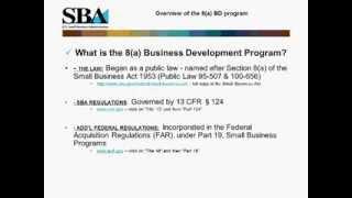 Webinar- Not Just Contracts: The SBA's 8(a) Business Development Program