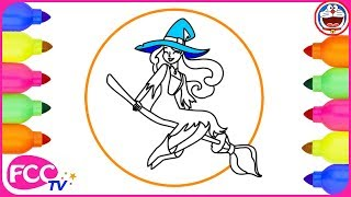 Witch Costume for Halloween Coloring Pages for Kids | How to Draw & How to Color