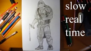 How to draw ninja turtles Michelangelo from movie 2014 REAL TIME