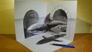 Drawing Great White Shark in 3D - Magical Artistic Drawing