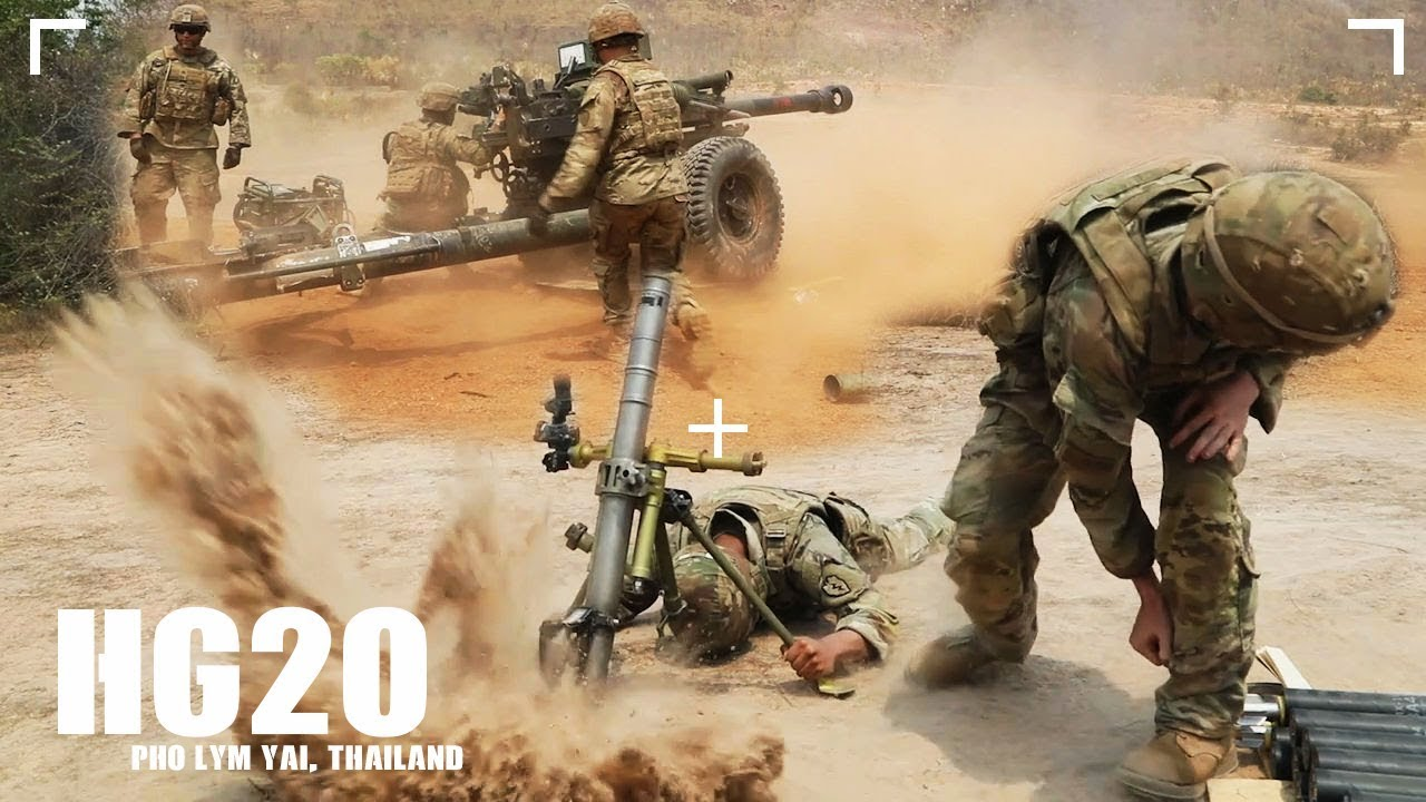 US Soldiers – HG20 Mortar and Field Artillery Live Fire