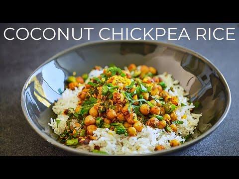 COCONUT CHICKPEA RICE RECIPE | EASY VEGAN DINNER IDEA | COCONUT MILK BASMATI RICE