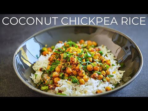 COCONUT CHICKPEA RICE RECIPE | EASY VEGAN DINNER IDEA | COCONUT MILK BASMATI RICE