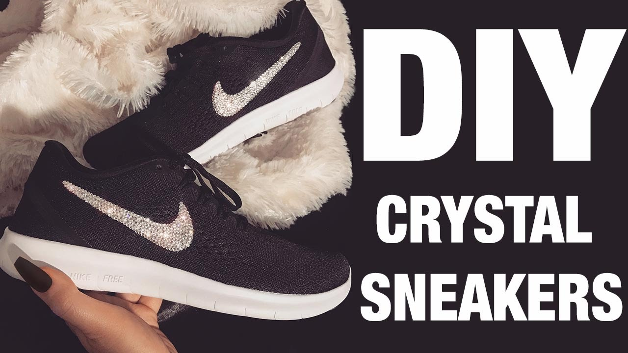 41933337ba08 DIY CRYSTAL NIKES - YouTube