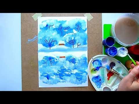 """1 клас. Мистецтво. Малюємо  монотипію  """"Зима"""". Тема: Пори року"""