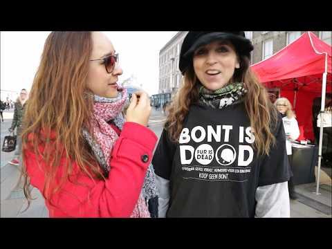Vegan activist during a fur protest of Bite Back in Eindhoven NL