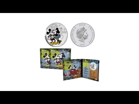"2017 Silver Niue Mickey/Minnie ""True Love Forever"" Coin"