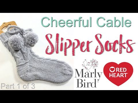 Cheerful Knitted Slipper Socks - Red Heart Yarns Knitting Pattern Part 1 of 3