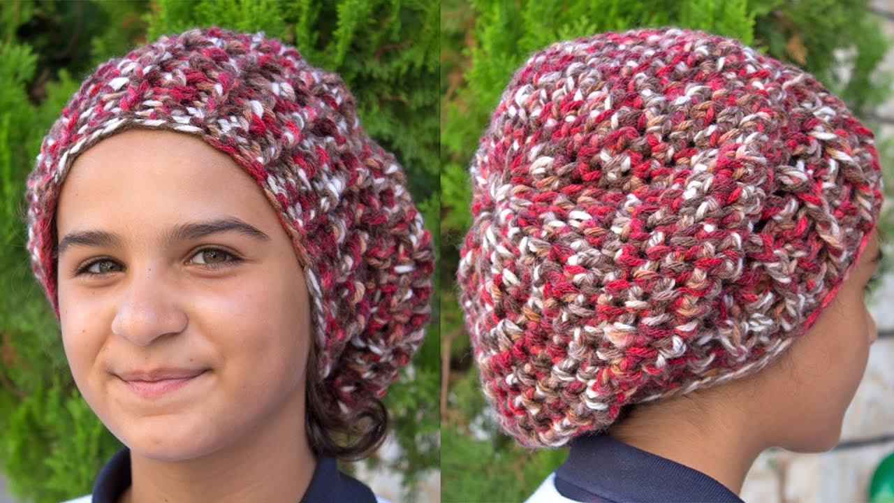 2bc1878e699 How to make a Chunky crochet slouchy beanie