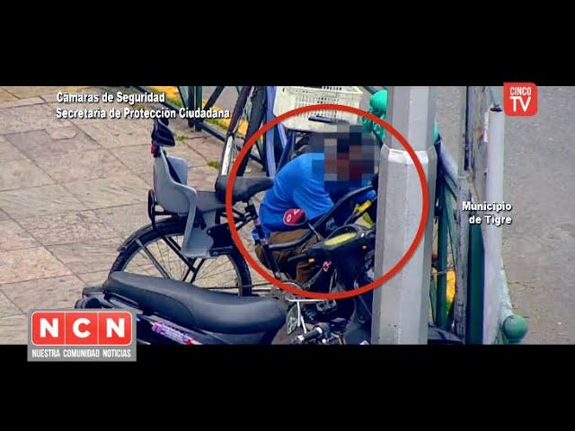 CINCO TV  - Cayó infraganti un ladrón de bicicletas gracias al sistema de monitoreo del COT