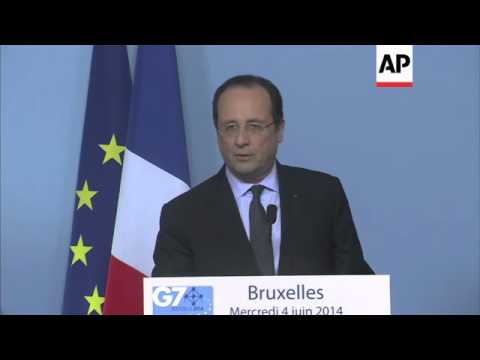 French President Hollande comments on Ukraine and Syria at G7 summit
