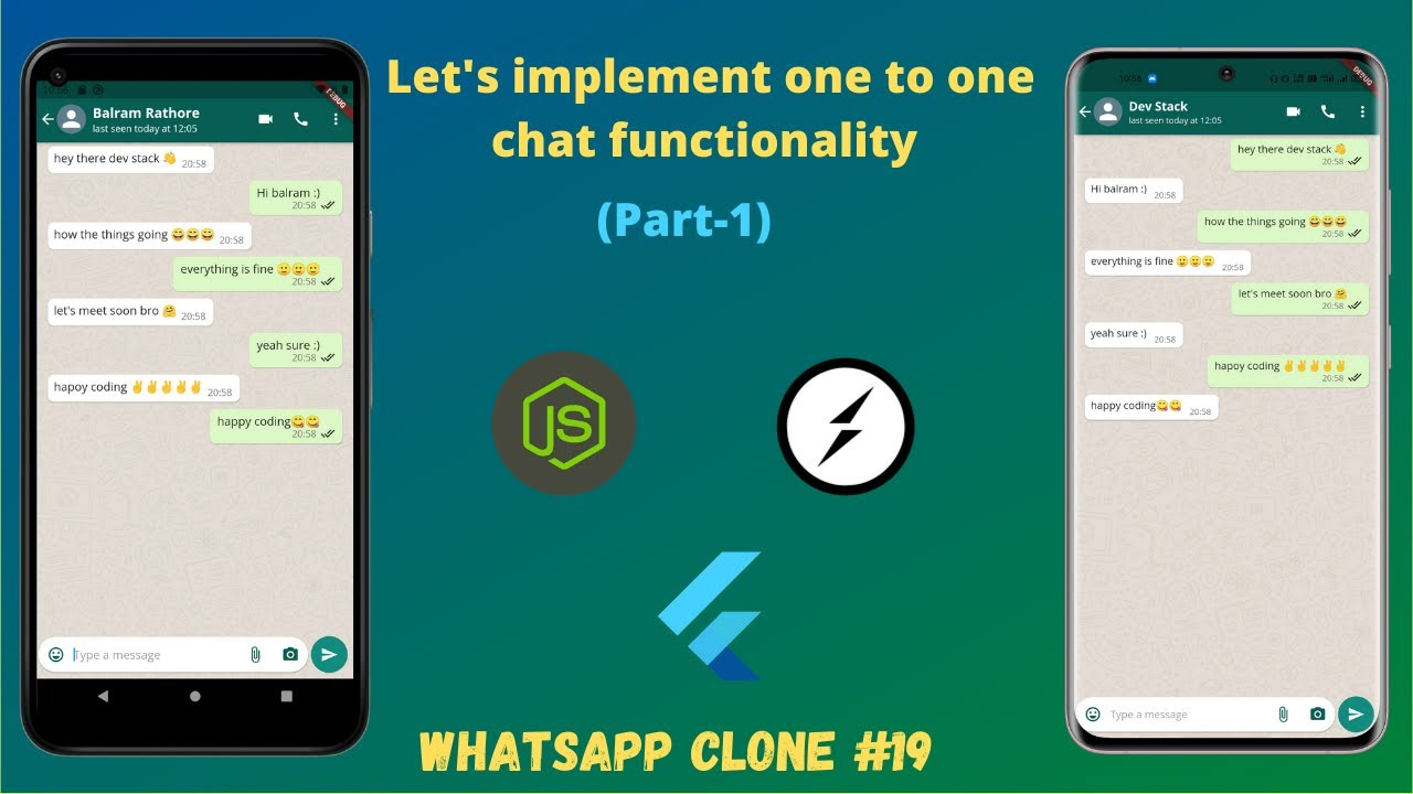 Flutter: Let's Implement one to One Chat Functionality (Pt-1) using Socket IO | WhatsApp Clone #19
