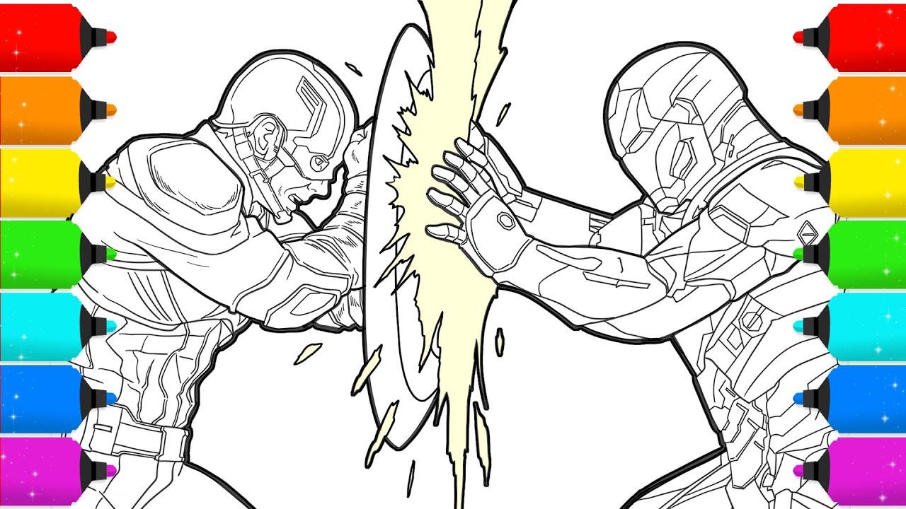 Digital Drawing Iron Man Vs Captain America In Civil War Time Lapse Youtube