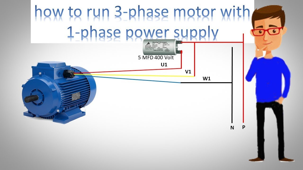 How to Run 3 phase Motor with 1 phase power supply by Earthbondhon