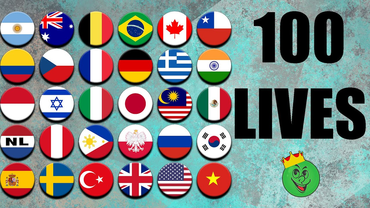 100 Lives Countries Marble Race in Algodoo \ Marble Race King
