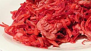 Салат с Жареным Мясом и Овощами кулинарный видео рецепт