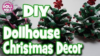 DIY Miniature Dollhouse Christmas Trees and Wreath