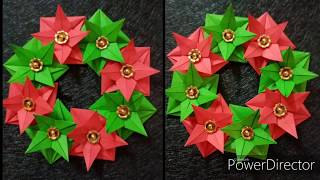 Paper Christmas wreath origami/Paper Christmas decorations /Tutorial