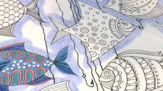 Adult Coloring With ILene Vick: Part 1/4 Fish. Background Coloring, White Space & Design Elements