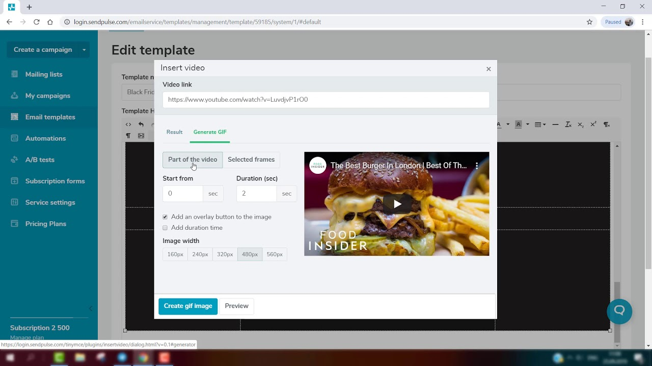 How to Generate GIF Animation From Video in SendPulse