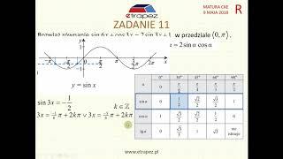 [Zadanie 11] Matura z matematyki poziom rozszerzony. Maj 2018.