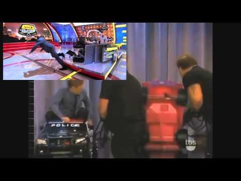Shaq (meme) falls off from a pink minicar on Conan