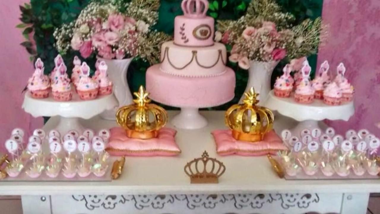 Ideias decoraç u00e3o festa Coroa realeza YouTube -> Decoração De Festa Infantil Realeza Luxo