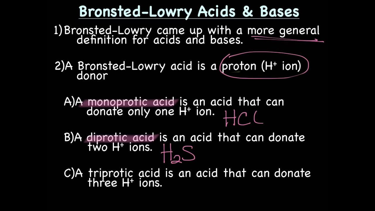 Arrhenius vs BronstedLowry Acids Bases YouTube – Bronsted-lowry Acids and Bases Worksheet
