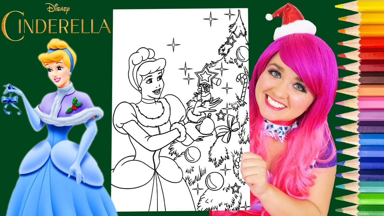 Coloring Cinderella Christmas Winter Coloring Book Page