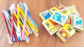 Amazing creative crafting out of Waste Matchbox & Old pen   Diy Wall decorating idea