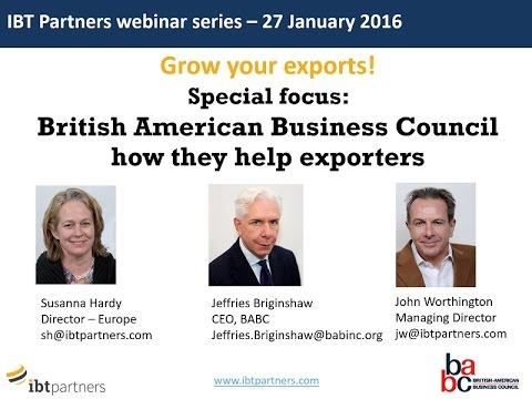 Webinar: Grow your exports and business in the United States, with the BABC