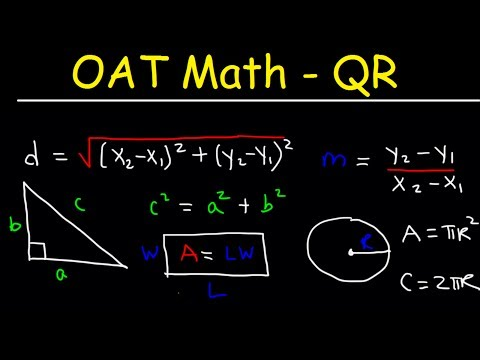 OAT Math Quantitative Reasoning Practice Problems Exam Test Prep - Multiple Choice Questions