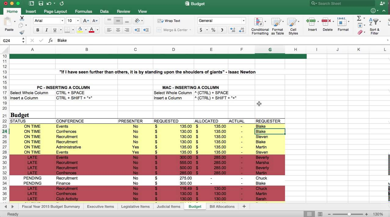 insert new row in excel mac shortcut