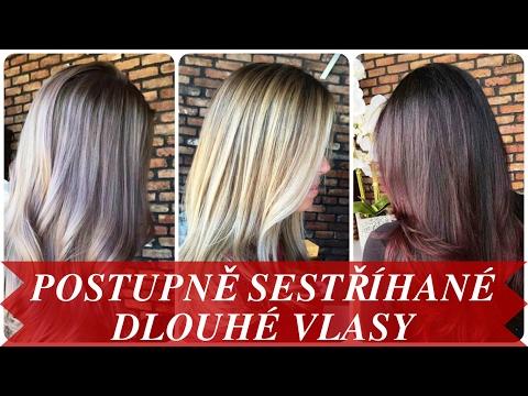 Moderní postupně sestříhané dlouhé vlasy