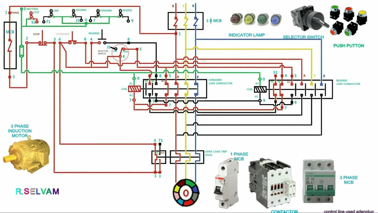 Single Phase Reversing Contactor Wiring Diagram 9003 Bulb Forward Reverse Starter Connection & Working Function Jogging Control Trip - Youtube