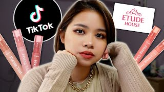 WHY THE TIKTOK HYPE? ETUDE HOUSE FIXING LIP TINT | REVIEW & LIVE LIP SWATCHES screenshot 2
