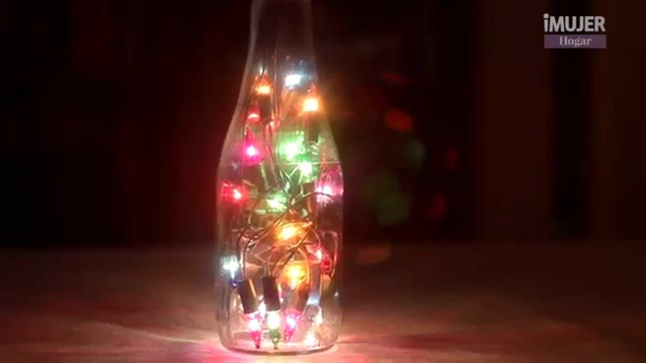 Botellas y luces para una bella lmpara  DECORACIN