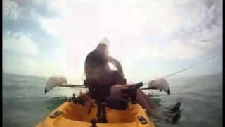 man in kayak saves dog