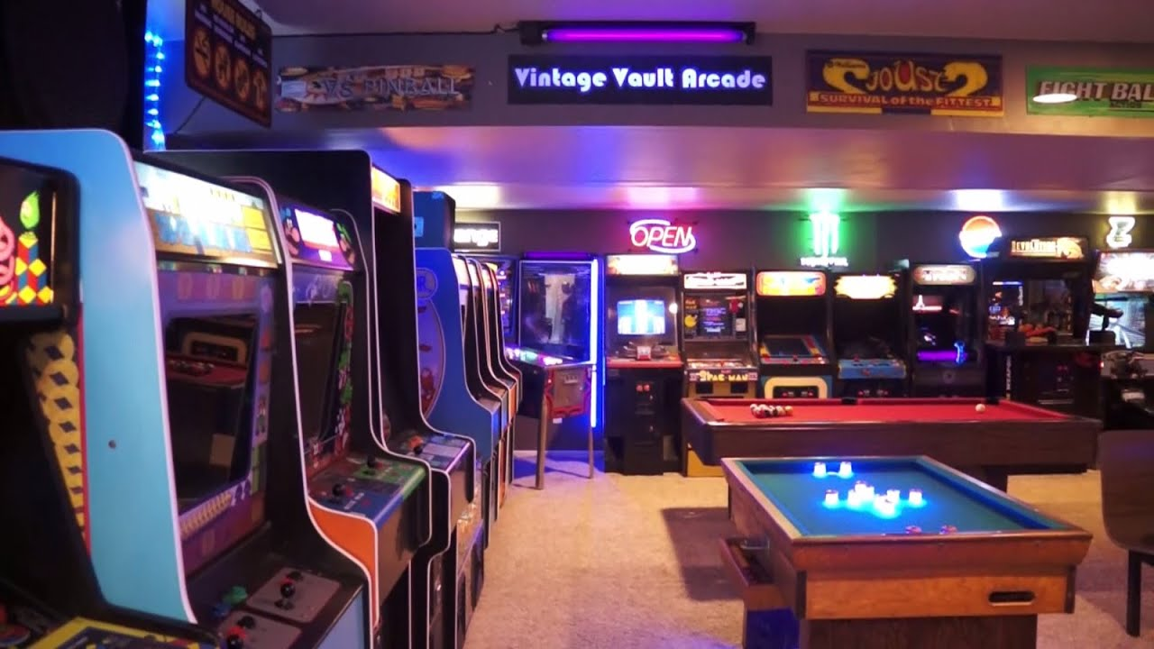 Free House Projects The Basement Arcade Vintage Vault Arcade Tour 2017 Youtube