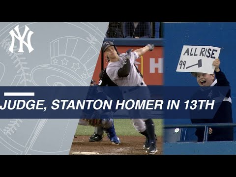Aaron Judge And Giancarlo Stanton Crush Homers In The 13th To The Delight Of A Fan