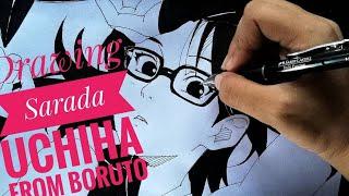 How to draw Sarada Uchiha from Boruto