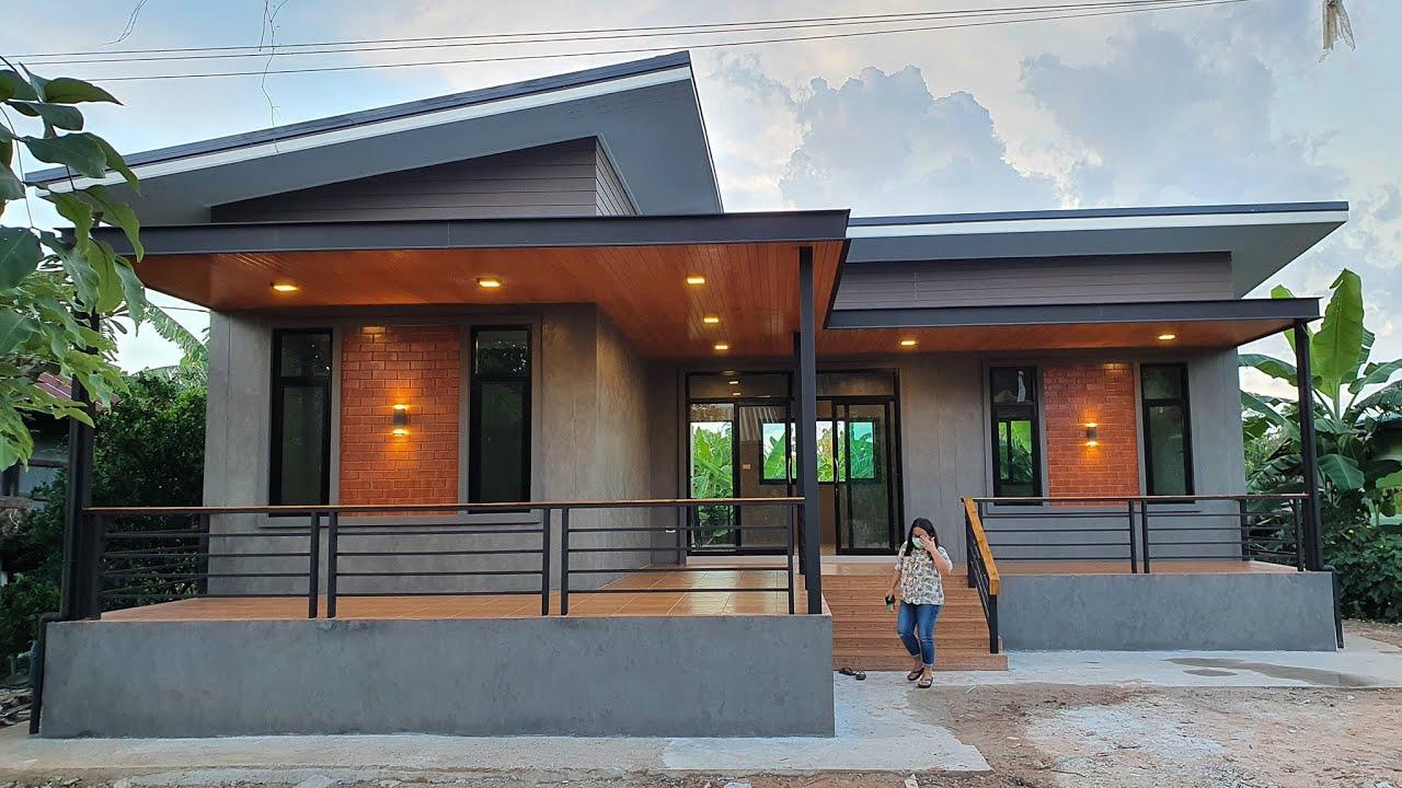 บ้านโมเดิร์นลอฟท์ดีไซน์ตัวบ้านรูปตัวแอลสวยงามด้วยผนังปูนเปลือยแบบสวยดิบ 2 ห้องนอน 1 ห้องน้ำ