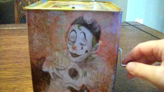 evil creepy scary haunted clown jack in the box toy that i got for halloween