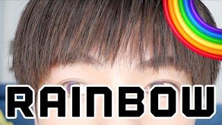 韓国で虹色のカラコンを買いました。
